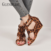купить Women Sandals Summer Shoes High Heels Peep Toe T-strap Casual Wedges Sandals Woman Brand Ladies Party Leopard Shoes Plus Size DE по цене 1069.14 рублей
