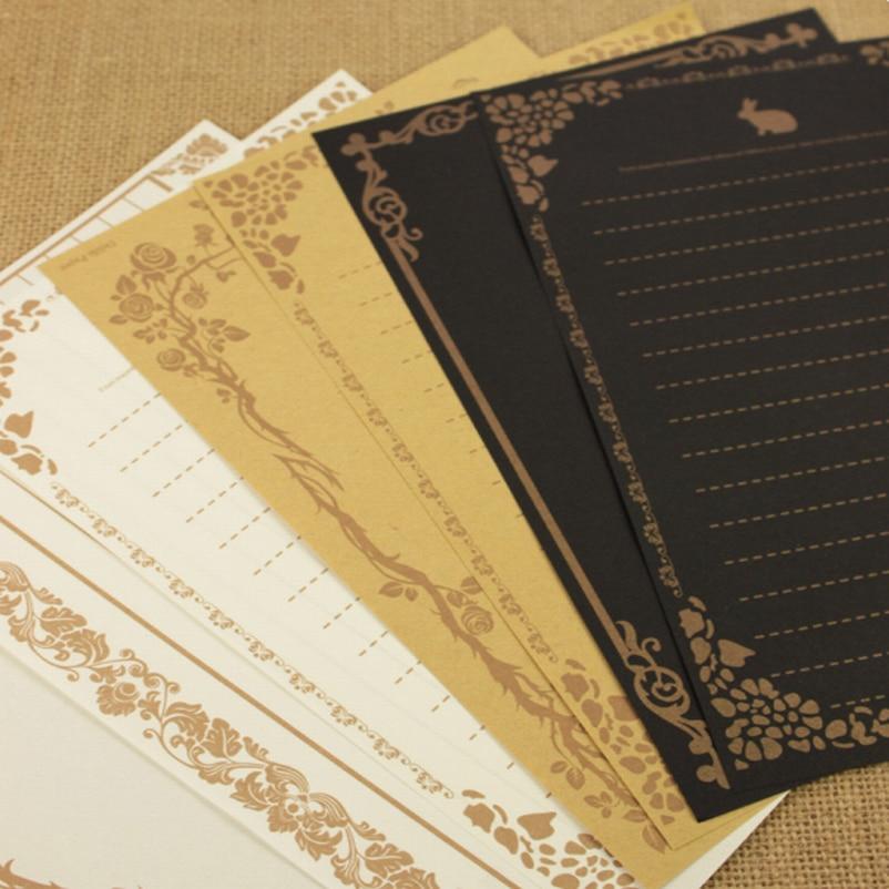 200Sets(8pcs/set) European Style Writing Paper Stationery Pattern Vintage Letterhead Letter Paper paper for love letter