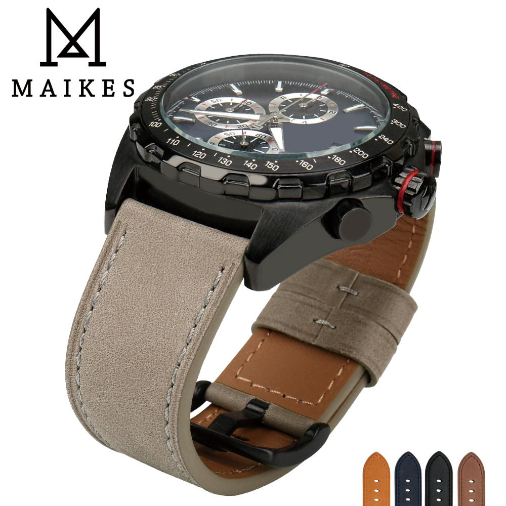 MAIKES Genuine Leather luxury Gray Watchband Watch Accessories Watch Strap 22mm 24mm Bracelet Watch band Watchband For fossil maikes new design watchband watch accessories yellow or gold color watch band 12mm 22mm watch strap case for casio