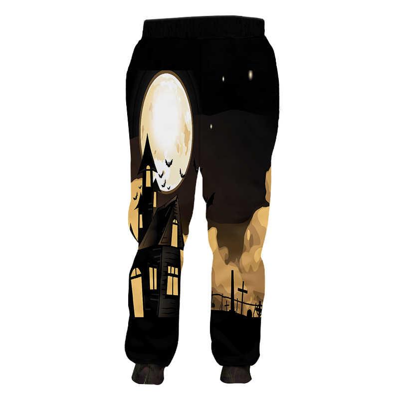 OGKB женские спортивные штаны модные свободные штаны с 3D принтом тыквы повседневные негабаритные Костюмные женские зимние брюки для Хеллоуина