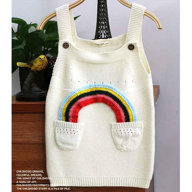 94fb47e5e7cd Girls Cotton Crochet Knit Rainbow Sweater Dress Kid Spring Knitwear Baby  Tank Suspender Braces Dresses Children Clothes Clothing