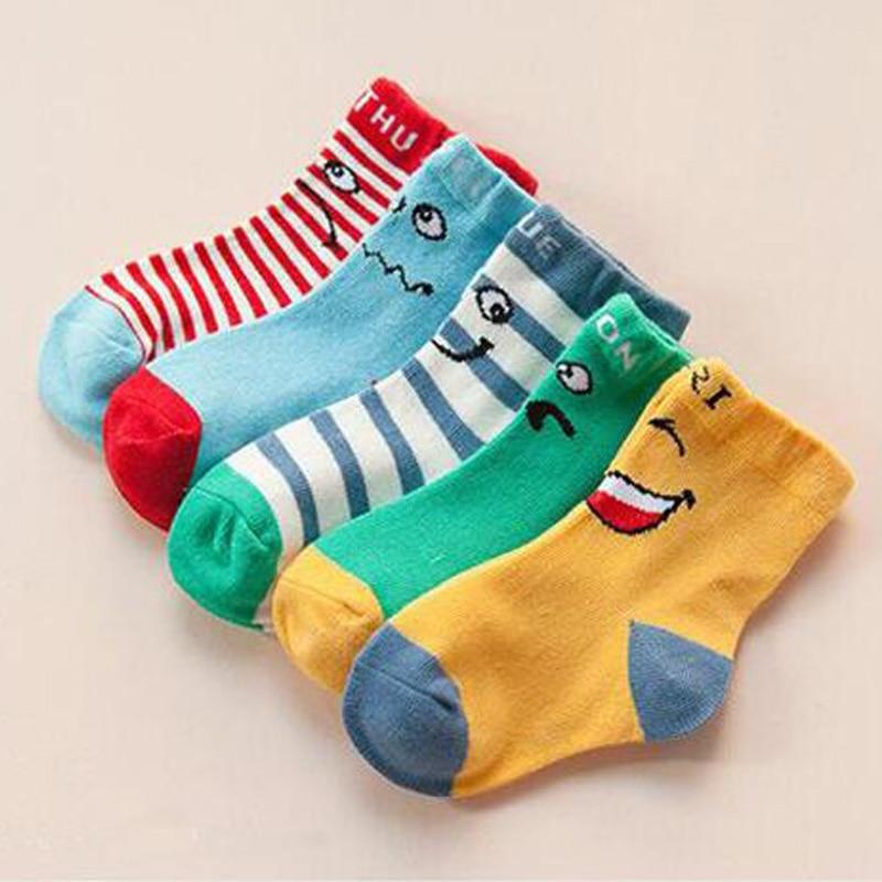 5 Pairs/ Lot 2018 Spring & Summer/ Autumn Smiling Face Pattern Cotton Baby Socks Boys Girls Socks 1-12 Year Children Socks