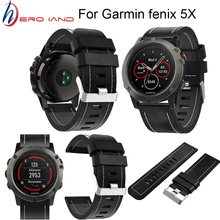 цена Leather Easy fit Watch Strap quick Release Bracelet Belt 26MM For Garmin Fenix 3/ Fenix 5X 5X Plus Smart Watch band wristband