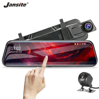 Jansite 10 Touch Screen 1080P Car DVR Dash camera Dual Lens Auto Camera Video Recorder Rearview mirror with 720p Backup camera