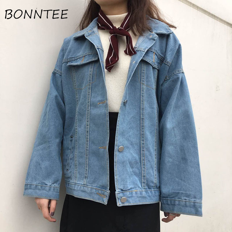 Jackets   Women New Solid Denim Pockets Single Breasted Button All-match   Basic     Jackets   Womens Long Sleeve Chic Korean Style Casual