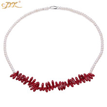 JYX Elegant 5-6mm Red Coral Pendant With White Freshwater Pearl Necklace Charming coral  Choker 22