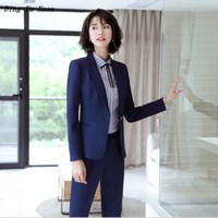 Women Business Party Pants Suits Formal Office Work Blazer and Pant Plus Size Trousers Suits for Women Two Piece Navy Blue Black