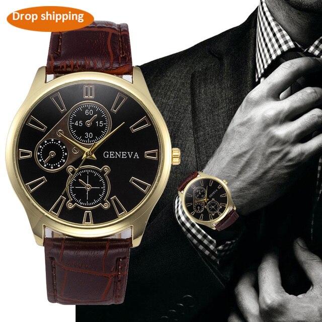 Geneva Men's watches luxury brand sport military Retro Design Leather Band Analo