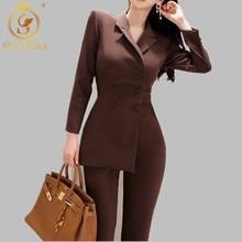 Женский асимметричный комбинезон, двубортный пиджак и облегающие брюки-карандаш, женский офисный комплект из двух предметов, деловой комбинезон, осень-зима