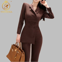 Women Irregular jumpsuit Double breasted Blazer Jacket and Slim Pencil Pant 2 Pieces Set Female Wear to office Business jumpsuit