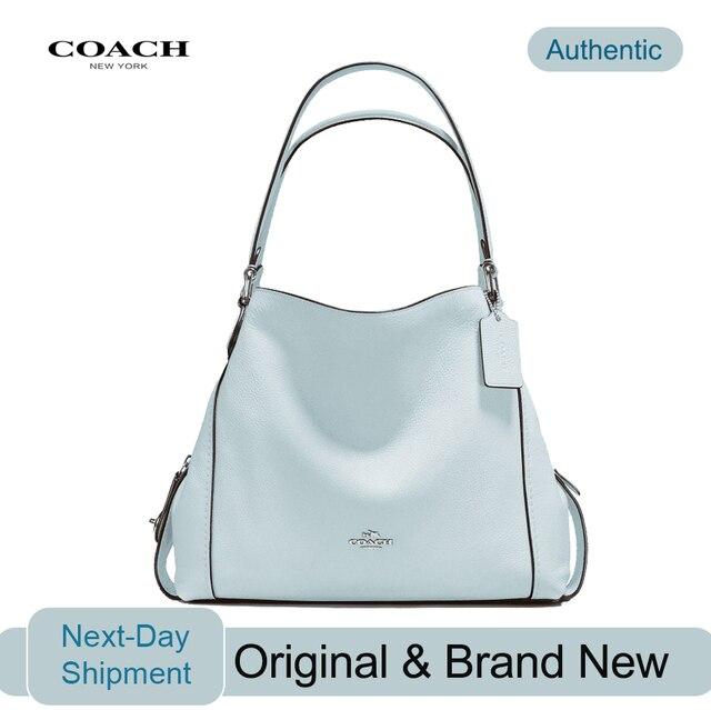 90c5503069 € 300.39 |Sac à bandoulière Coach Edie 31 en cuir galet poli (ciel/argent)  sacs à main de luxe pour femme sacs Designer par Coach dans de sur ...