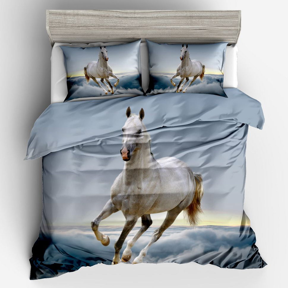 Home Textile Quilt Cover Pillow Cover Bed Clothes Adult Boys Kids 3D Horse Duvet Cover Bedding Set Twin Full Queen King Size