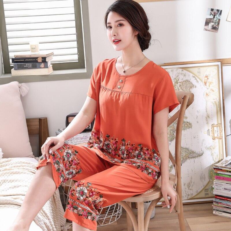 Womens  short sleeve Embroider Flower pajamas set Summer New 3XL cotton pyjamas For mother Soft Home Leisure wearPajama Sets   -