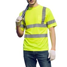 Oeak Safety T-Shirt Yellow Short Sleeve Reflective Shirt Summer Fast Dry Breathable  t Free Shipping