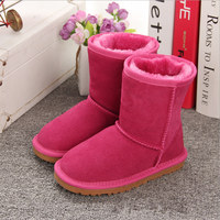 Boys and Girls Australia Style Kids Snow Boots Waterproof Slip on Children Winter Cow Leather Boots Brand Ivg EU 21 35