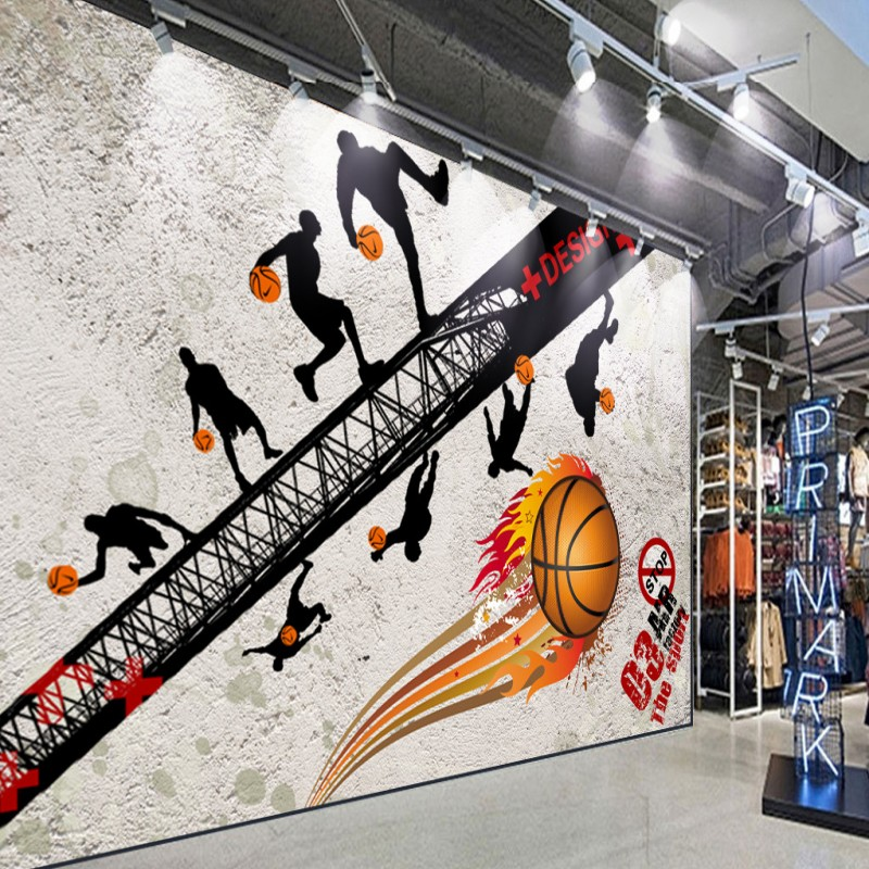 Photo wallpaper custom Basketball mall Retro Nostalgic Sports Fitness Background Wallpaper Gym Corridor Shopping Center Mural
