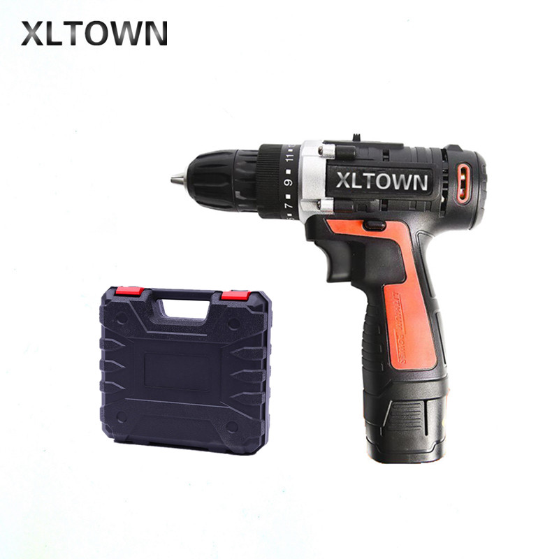 цена на XLTOWN 16.8V cordless electric drill with a plastic box lithium battery rechargeable electric screwdriver household power tools