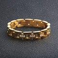 Снова драгоценный камень браслет из нержавеющей стали браслеты микро проложенный кубический циркон Золотой Серебряный цвет мужские ювели...