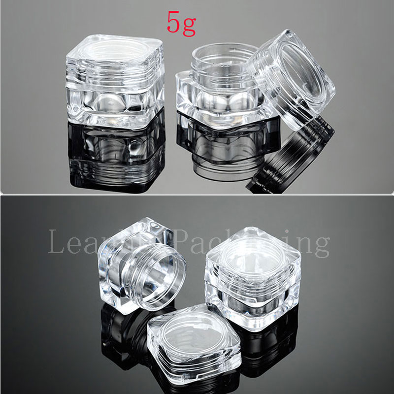 5g Empty Square Acrylic Clear Cream Cosmetic Containers