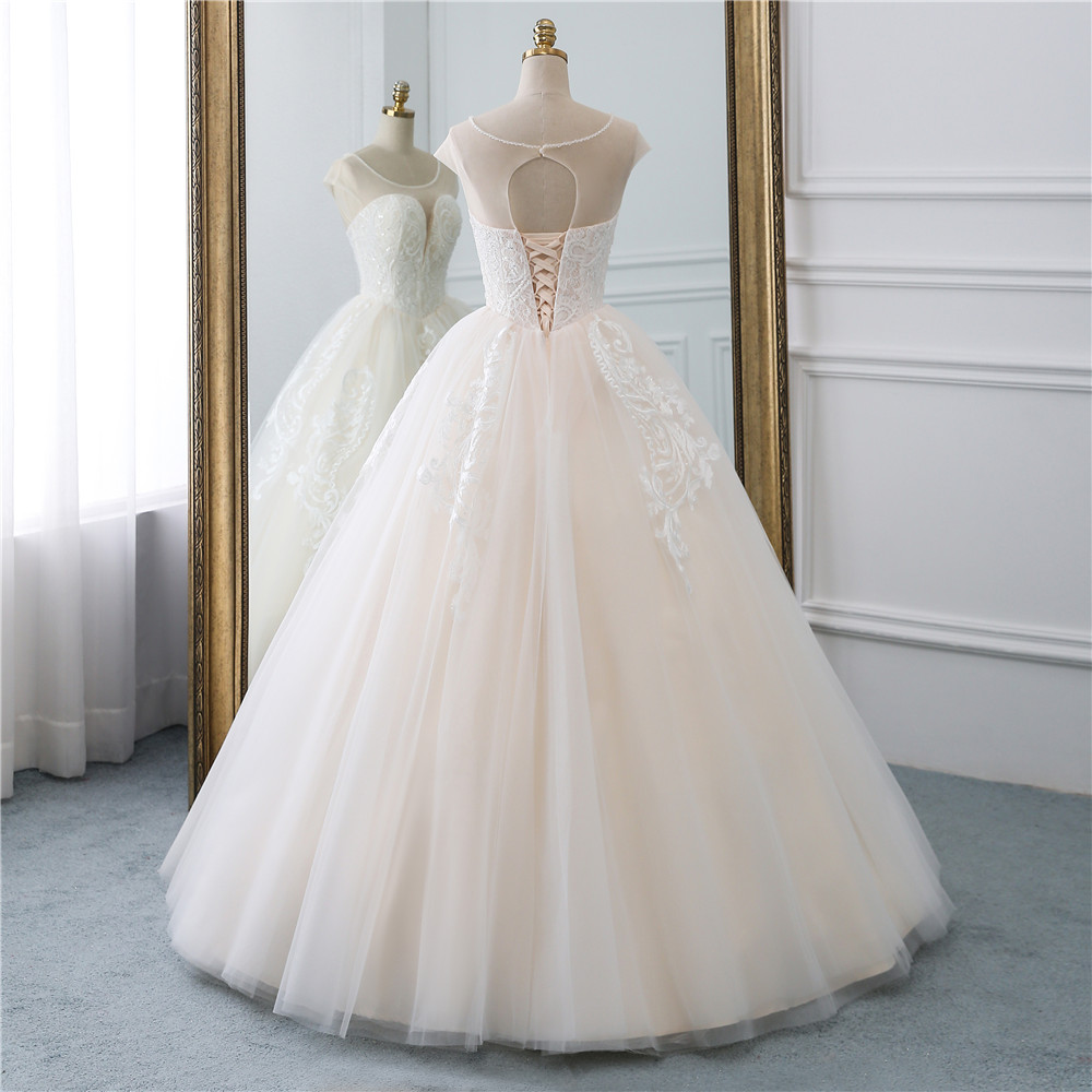 Image 3 - Fansmile Illusion Vintage Princess Ball Gown Tulle Wedding Dresses 2019 Quality Lace Plus size Wedding Bride Dresses FSM 520F-in Wedding Dresses from Weddings & Events