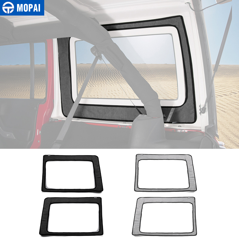 MOPAI Car Interior Rear Window Heat Insulation Cotton Kit Decoration Sticker for Jeep Wrangler JK 2012