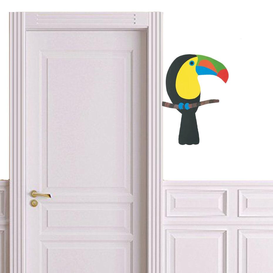 3D Cartoon Parrot Bird Wall Stickers For Kids Room Bedroom Nursery Home Decor Vinyl Pvc Backdrop Mural Home Decor