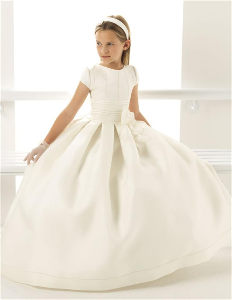 2016 White Bow Scoop Short Satin A Line Floor-Length   Girls   Pageant   Dresses   First Communion   Dresses   For   Girls     Flower     Girl     Dresses