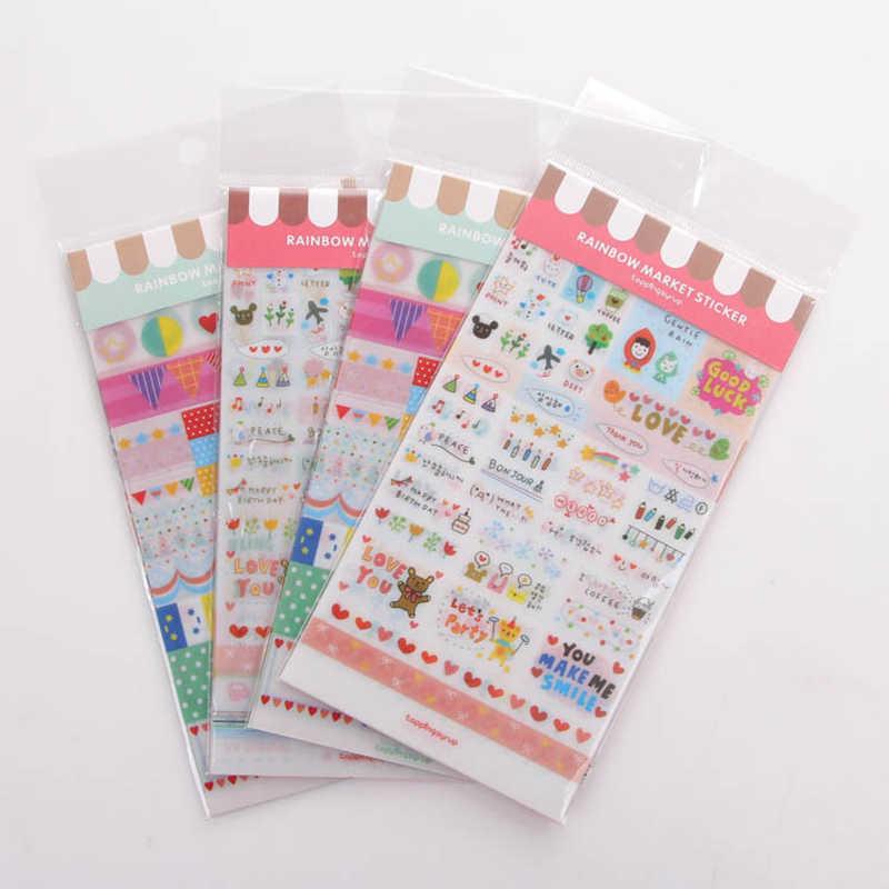 6 גיליון חם Creative PVC מדבקות תוויות לוח שנה Scrapbook ספר יומן דקורטיבי מדבקה