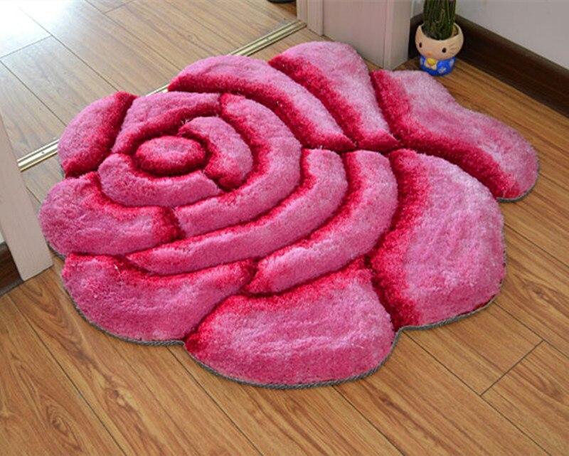 Яркий цвет, 3D Цветочный дизайн, ковер для спальни, коврик для ванной, нескользящий коврик для двери, коврик для пола, большой коврик для ванной комнаты, tapete banheiro - Цвет: fenhongse