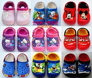 2016 Winter boys girls cartoon mickey kitty plus velvet sandals children's warm indoor slippers kids footwear flip flop 16O101