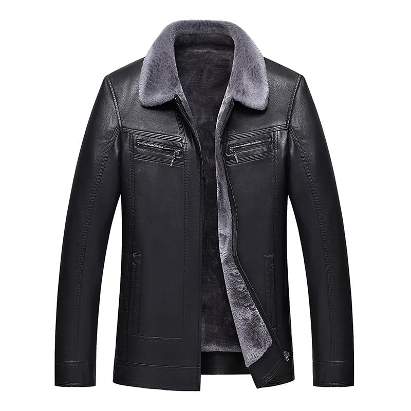 2019 Men Leather Jacket Faux Sheepskin Jacket Winter Leather Coat Lambskin Jacket Men Sheep Shearing Biker Jacket Leather Men