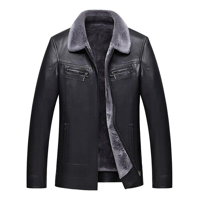2019 veste en cuir pour hommes veste en fausse peau de mouton manteau en cuir d'hiver veste en peau d'agneau pour hommes veste de motard en cuir pour hommes