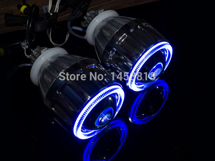 2.5'' HQ Bixenon HID Angel Eyes Headlight Projector Lens Fits For H4 H7 + Halos Ring+ Wiring+ Lamps, Car Styling Retrofit
