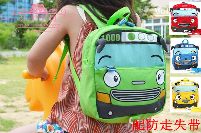 Cartoon small tayo motor bus small school bag baby anti-lost child school bag