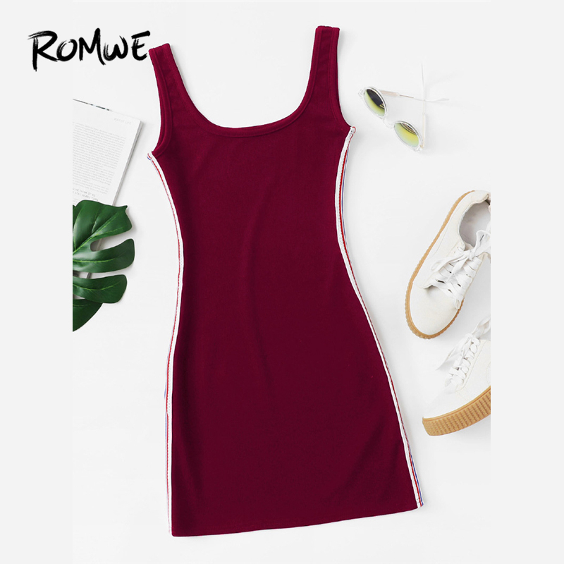a7a567417a46 Detail Feedback Questions about ROMWE Striped Tape Side Burgundy Dress 2018  Summer Scoop Neck Sleeveless Casual Women New Fashion Sporty Slim Bodycon  Mini ...