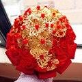 2017 Высокое Качество Золотые Украшения Розовыми Цветами Свадебный Букет С Кристаллами Атласная Лента Рамо Novia Свадебные Букеты