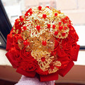2017 High Quality Golden Ornaments Rose Flowers Wedding Bouquet With Crystals Satin Ribbon Ramo Novia Bridal Bouquets