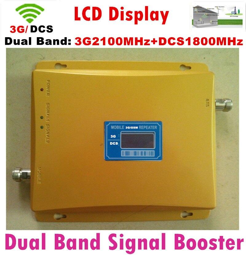 Haute Qualité 2g 3g 4g répéteur Gain 65DB DCS/3G Cellulaire téléphone répéteur Dual Band 1800/2100 mhz GSM mobile signal booster amplificateur