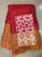 high quality african cord lace RED and YELLOW color guipure lace fabric for nigerian aso ebi 5yards/lot