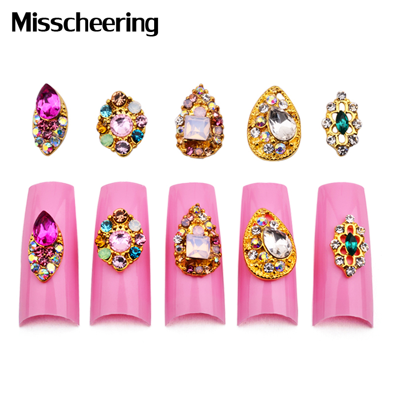 10st New Teardrop Nail Rhinestones Gems 3D Gold Alloy Strass Nail Accessories DIY Charm Nail Smycken Dekorationer