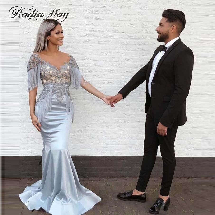 Arabic Silver Grey Mermaid Evening Dress Dubai Kaftan V-Neck Lace Appliques Tassel Elegant Long Women Prom Formal Dresses 2019