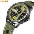 2016 Mens Relógios Pulseira de Couro dos homens EYKI Sobrevoar Esporte Militar Relógios de Quartzo com Calendário À Prova D' Água