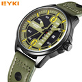 2016 Mens Watches EYKI Overfly Men's Leather Strap Waterproof Sport Military Quartz Watches with Calendar