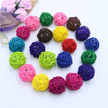 8PCS 5CM Colorful Rattan Ball DIY Ornaments Sepak Takraw Home Ornament Christmas/Birthday Wedding Party Kids Gifts Decorations