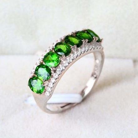 Bague Diopside naturelle en argent Sterling 925 bijoux mode élégant bijou vert fin cristal femmes cadeau pierre de naissance SR0154 nouveau