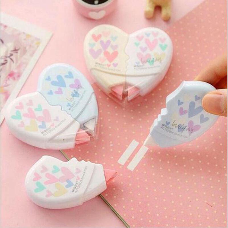 2pc Heart-Printing Correction With Cute Cartoon Children'S Stationery Gifts School Office Supplies Correction Length 10m