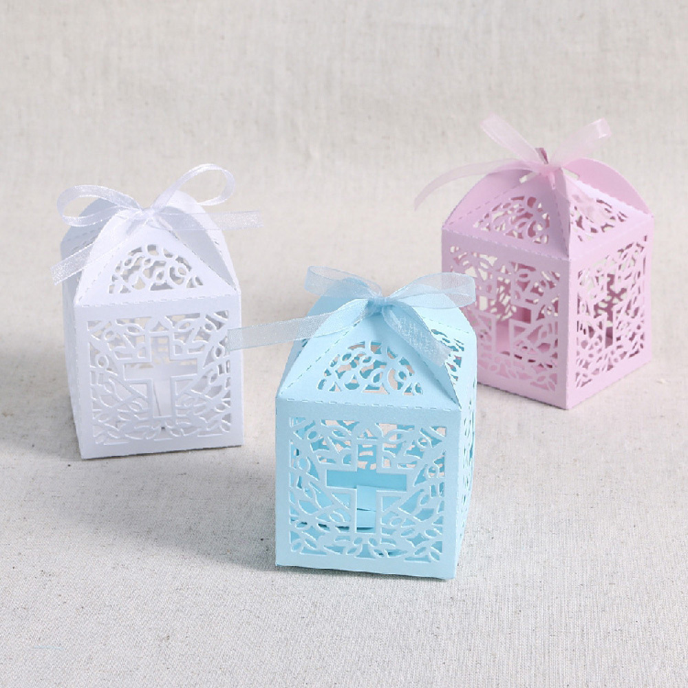 50pcs White Pink Blue Laser Cut Cross Candy Gift Box Christening ...