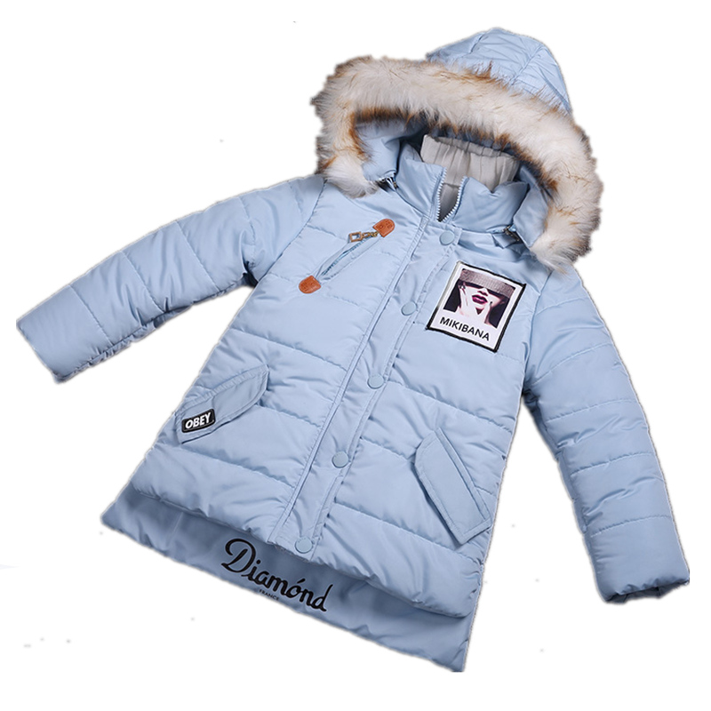 New 2016 Children Girls Winter Parkas Coat Jacket Thick Cotton-Padded Supreme Hoodie Warm Jacket For Girl Wadded Shearling Coats