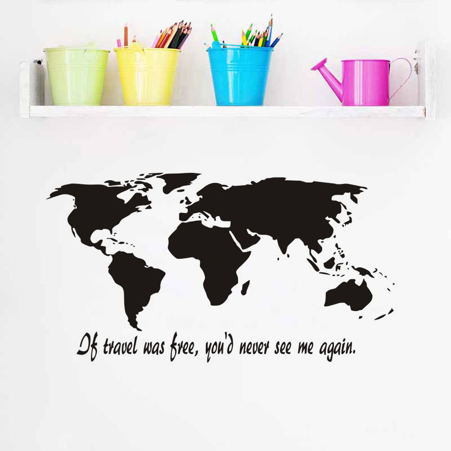 If travel was free world map silhouette wall art decal sticker if travel was free world map silhouette wall art decal sticker removable vinyl transfer stencil graphics home mural room decor in wall stickers from home gumiabroncs Choice Image