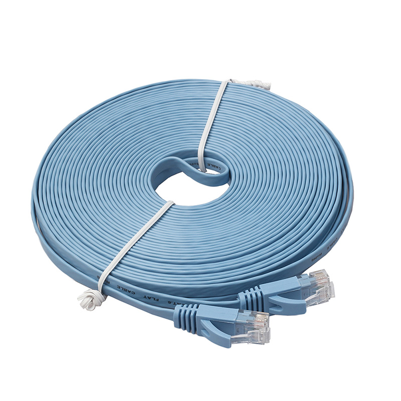 New 15M White Ethernet CAT6 Internet Network Flat Cable Cord Patch Lead RJ45 For PC Router Hot